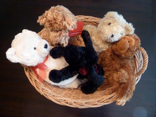 Stuffed Animals in a Basket
