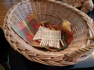 Basket and clothespins