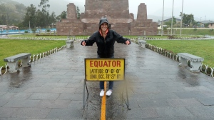 My granddaughter straddling the equator in Ecuador.